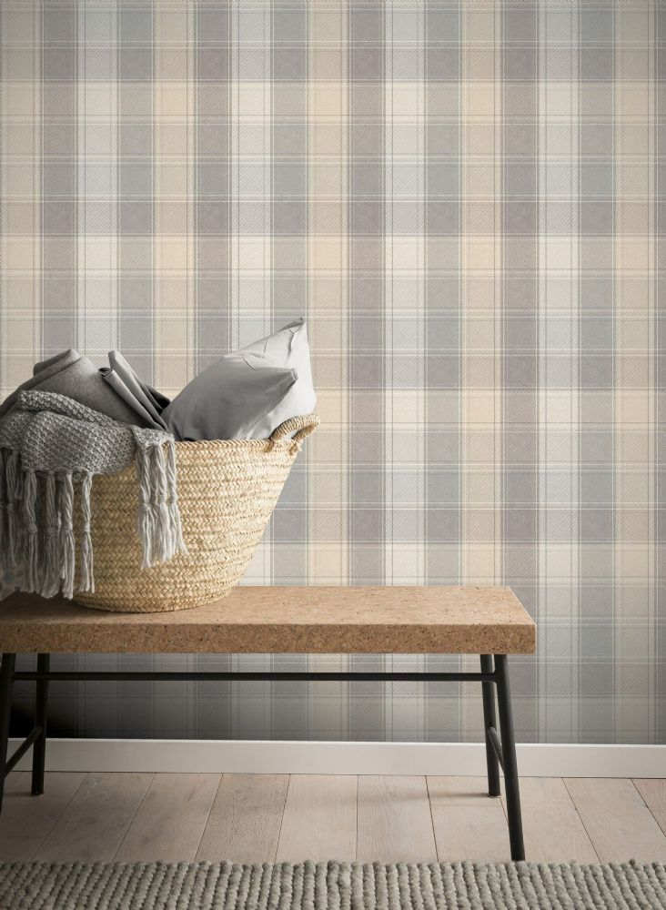 Arthouse Country Check Grey 901902 Wallpaper